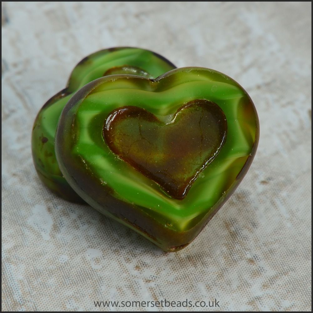 Czech Glass Picasso Heart Beads - Rippled Green