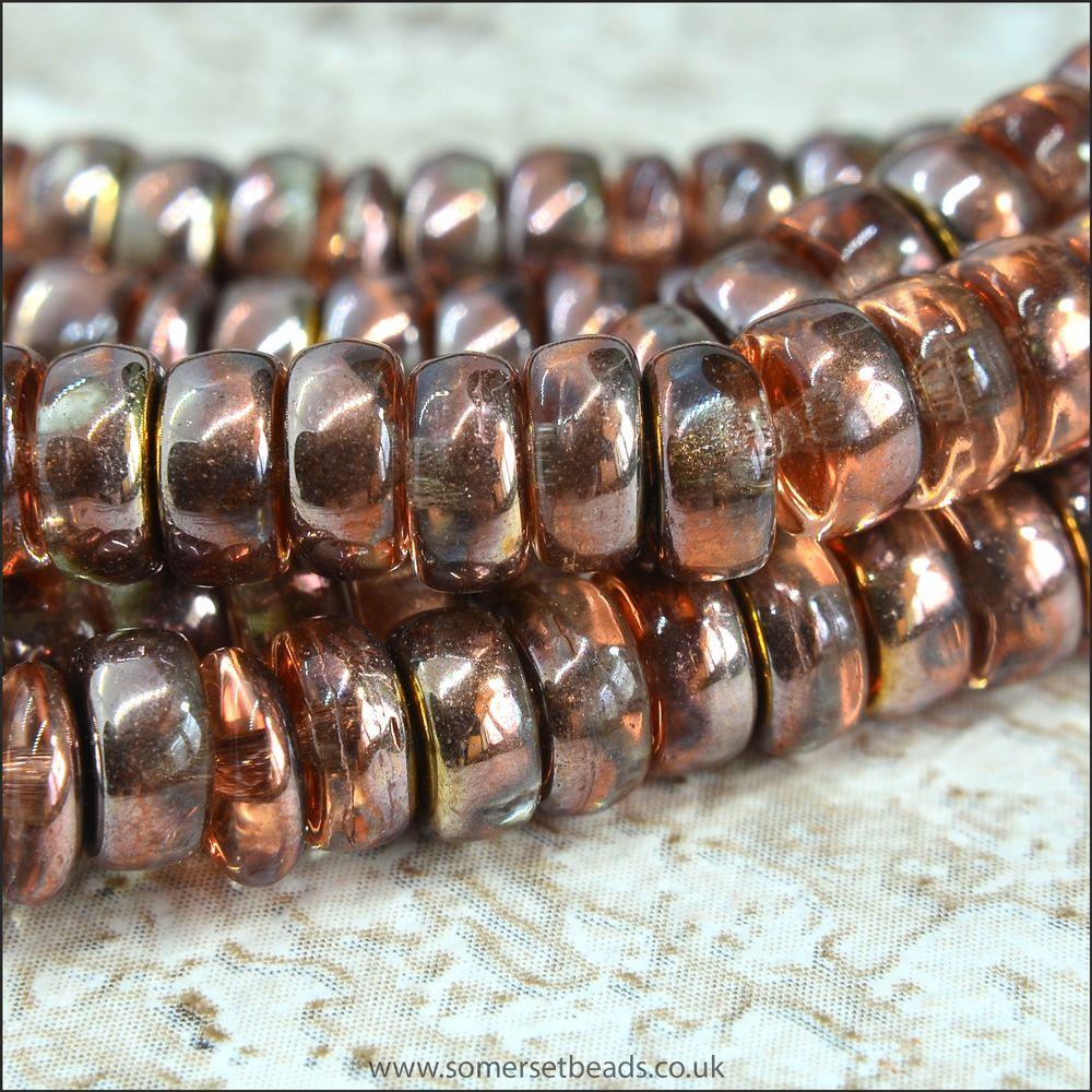 Czech Glass Wheel Beads 3mm x 6mm Copper Mix