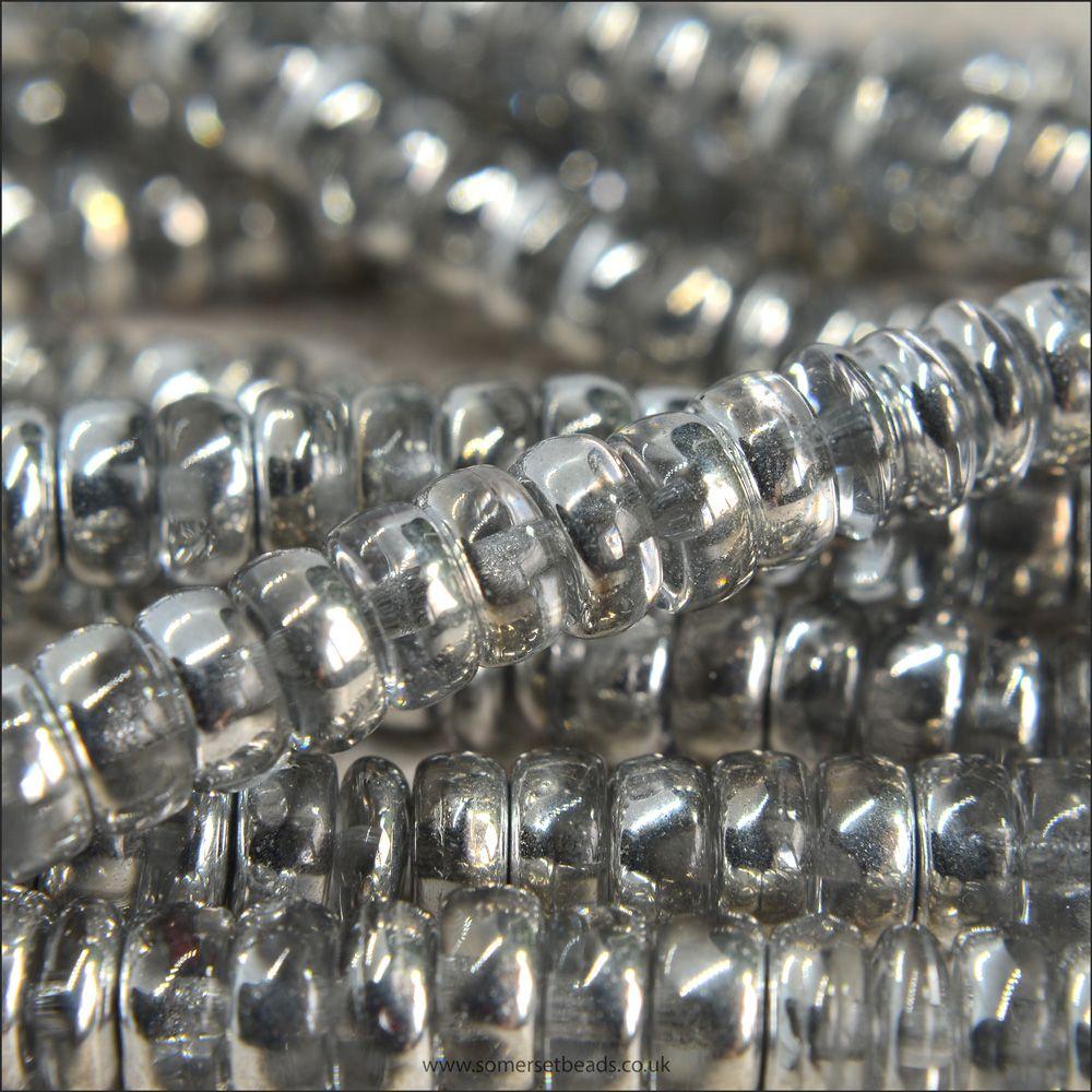 Czech Glass Wheel Beads 3mm x 6mm Silver