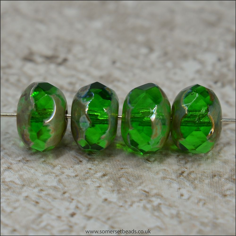 Czech Glass Faceted Picasso Rondelle Beads - Green