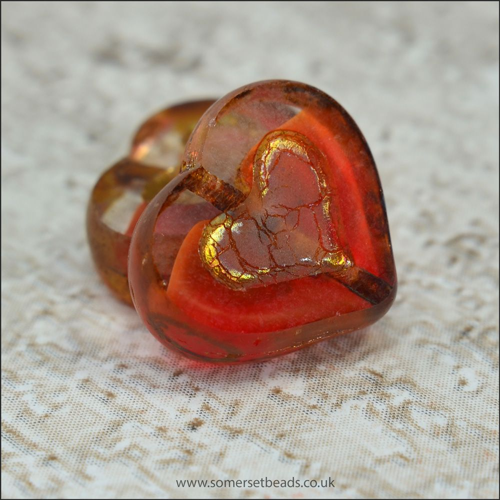 Czech Glass Picasso Heart Beads - Marbled Red