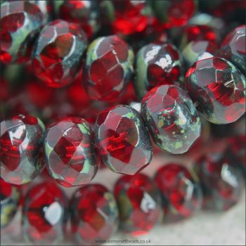 Czech Glass Faceted Picasso Rondelle Beads - Dark Red