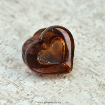 Czech Glass Picasso Heart Beads - Plum