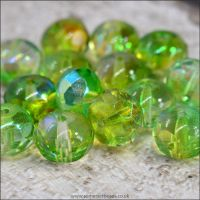 Czech Glass Faceted AB Rondelle Beads - Mixed Green