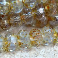 Czech Glass Faceted Picasso Rondelle Beads - Ice Blue