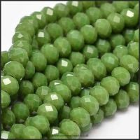 Opaque Faceted Glass Crystal Rondelle Beads Matte Olive 6mm x 4mm