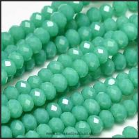 Opaque Faceted Glass Crystal Rondelle Beads Cyan 3mm x 2mm