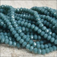 Opaque Faceted Glass Crystal Rondelle Beads Airforce Blue 3mm x 2mm