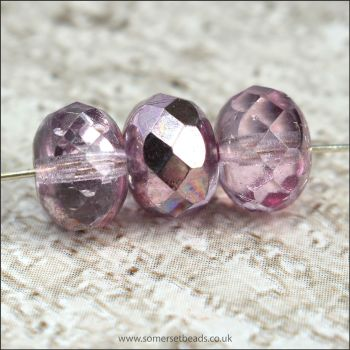 Czech Glass Faceted Rondelle Beads 9mm x 6mm- Pink