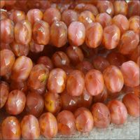 Czech Picasso Faceted Rondelle Beads, 8mm x 6mm. 10 Pcs - Coral