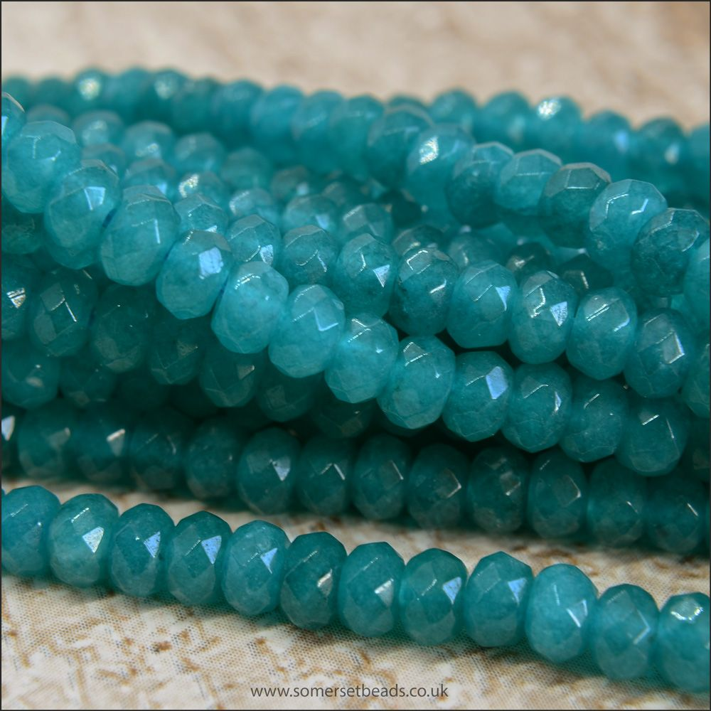 Cyan Coloured Dyed Faceted Jade Gemstone Rondelle Beads 2mm x 4mm