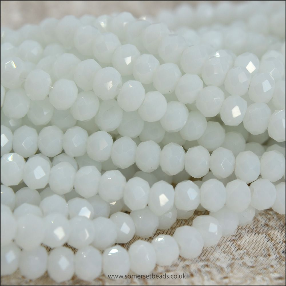 Opaque Faceted Glass Crystal Rondelle Beads White 3mm x 2mm