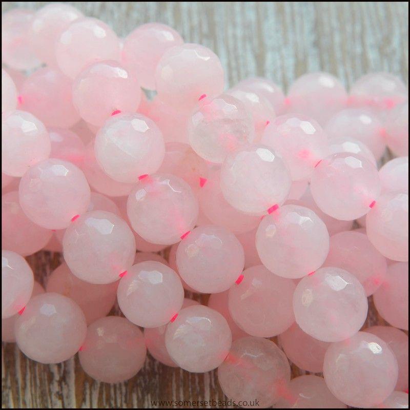 Rose Quartz 6mm Round Faceted Semi Precious Beads