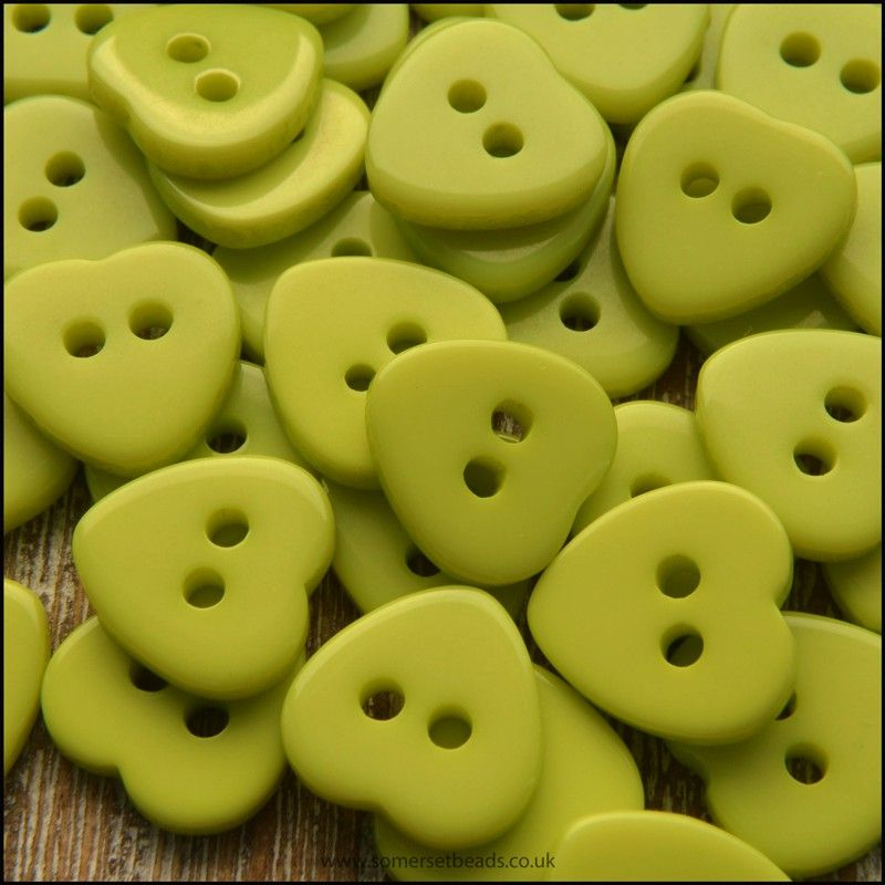 11mm Green Resin Heart Shaped Buttons