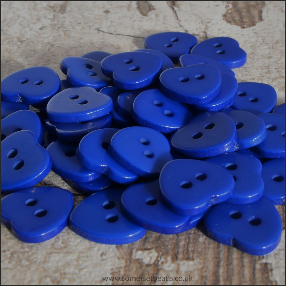 11mm Blue Resin Heart Shaped Craft Buttons With 2 Holes, Pack of 50