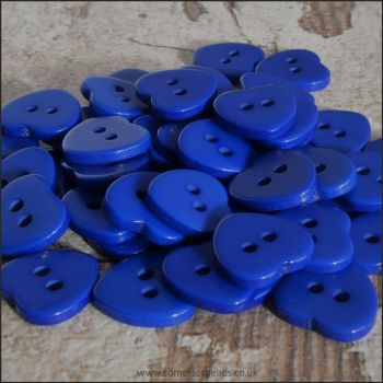 11mm Blue Resin Heart Shaped Buttons