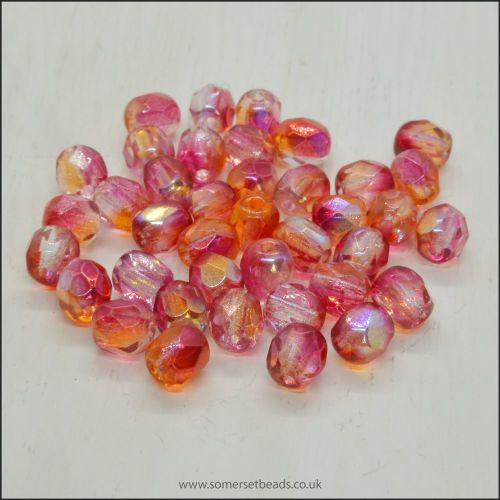 Czech Glass Faceted Fire Polished Beads 4mm Rhubarb & Custard AB Mix