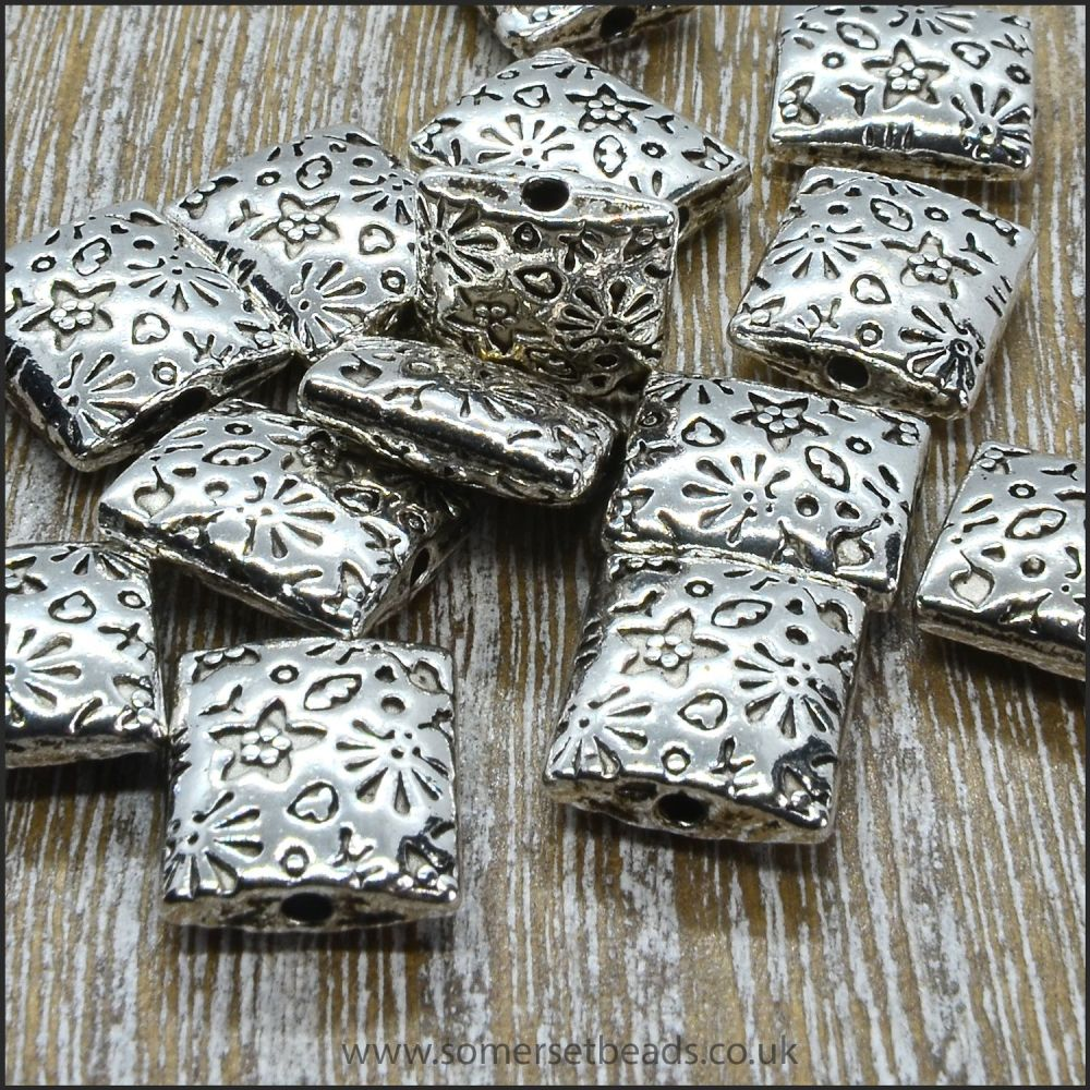 Silver Tibetan Style Patterned Rectangle Beads