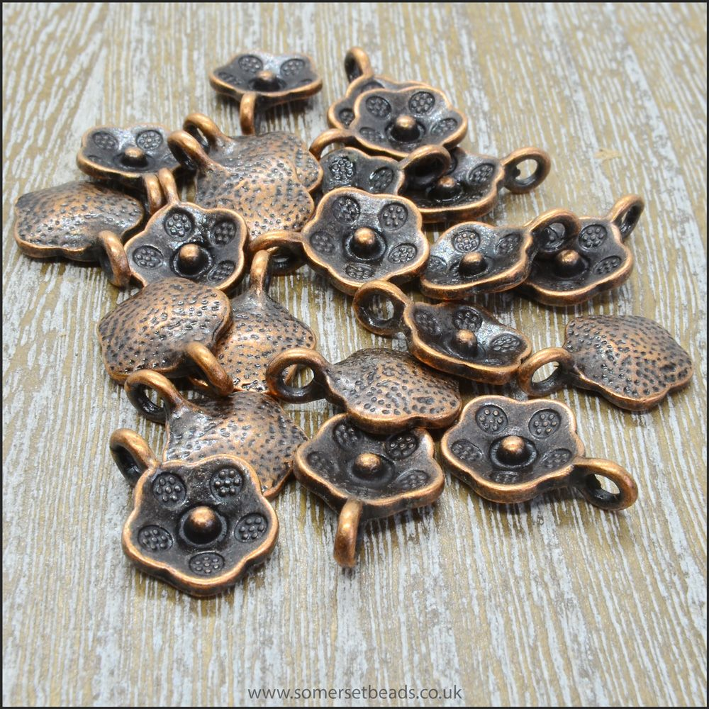 Antique Copper Flat Flower Charms
