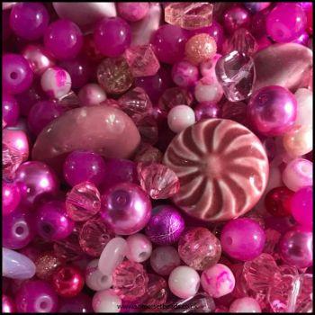 Pink  Bead Mix 100g