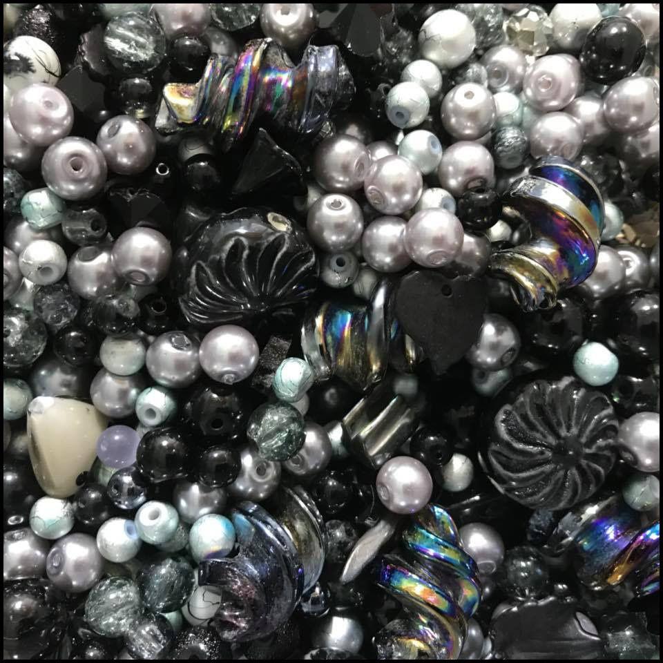 Black & Grey Bead Mix 100g