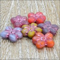 Czech Glass Pressed Puffy Flower Bead - Pastel Mix