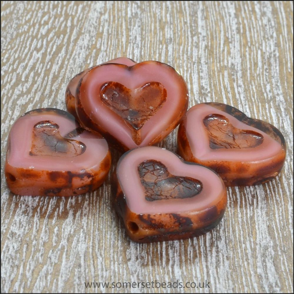 Czech Glass Picasso Heart Beads - Satin Pink