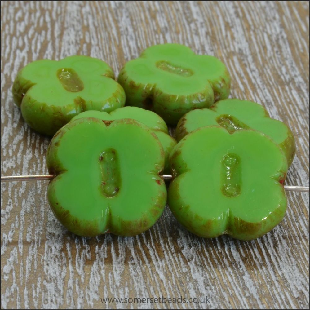 Czech Glass Table Cut Picasso 4 Petal Flower Beads - Apple Green