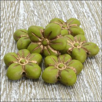 Czech Glass Pressed Puffy Flower Bead - Apple Green