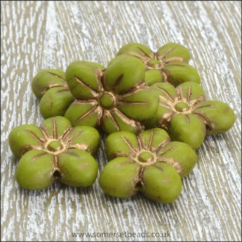 Czech Glass Pressed Puffy Flower Bead - Apple Green