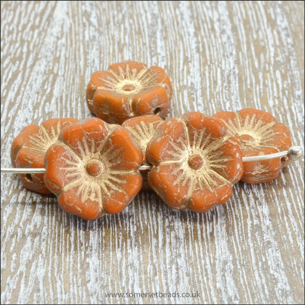 Czech Glass Hawaiian Flower Beads 12mm - Terracotta