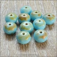 Czech Glass Faceted Rondelle Beads - Aqua