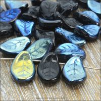 Czech Glass Pressed Curved Leaf Shaped Beads - Black AB.