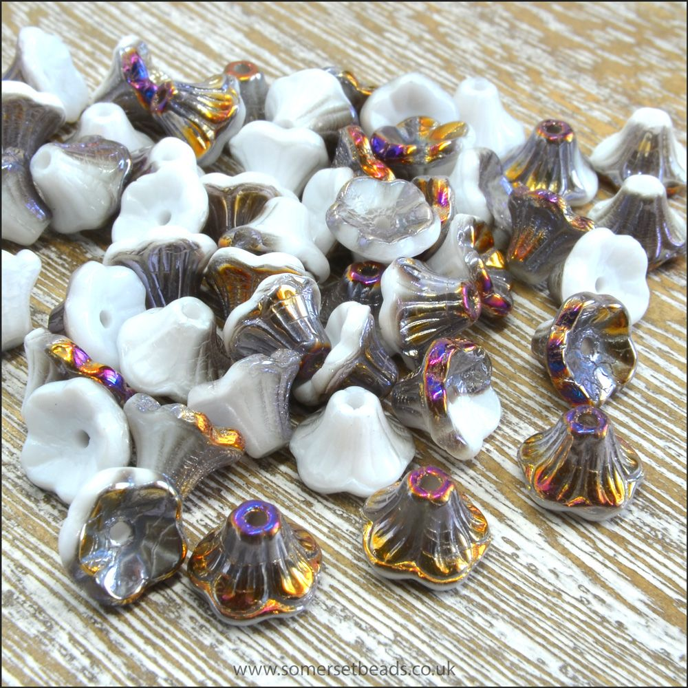 Czech Glass Flower Cup Beads - Chalk White Sliperit