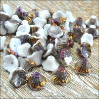 Czech Glass Flower Cup Beads - Chalk White Sliperit