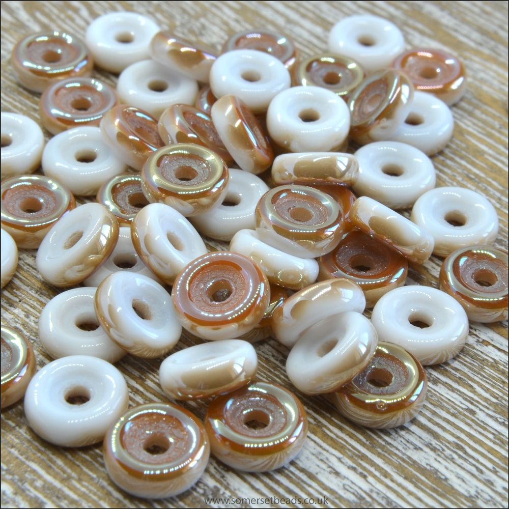 Czech Glass Wheel Beads 6mm White Celsian 10g