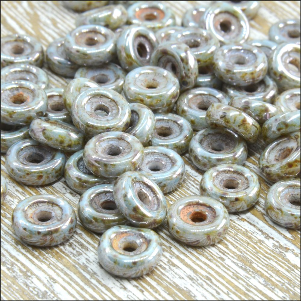 Czech Glass Wheel Beads 6mm White Blue Luster Picasso 10g