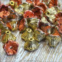 Czech Glass Flower Cup Beads - California Gold Rush