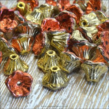 Czech Glass Flower Cup Beads - California Gold Rush
