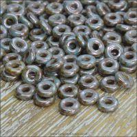 Czech Glass O Beads - Chalk White Blue Luster