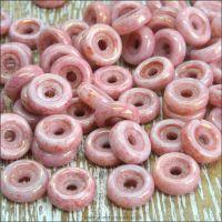 Czech Glass Wheel Beads 6mm White Pink Luster 10g