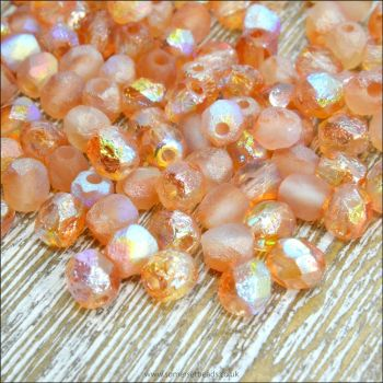 Czech Glass Faceted Fire Polished Beads 4mm Etched Crystal Orange Rainbow