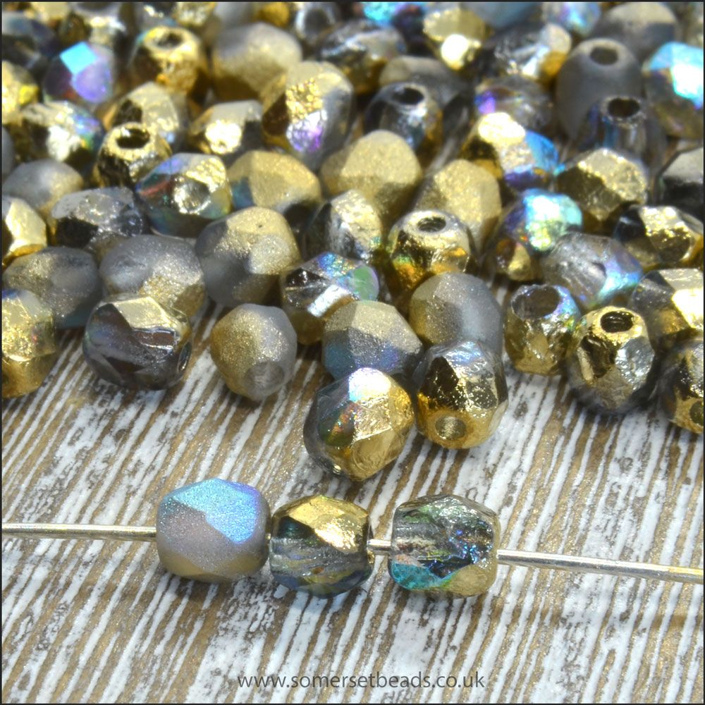 Czech Glass Faceted Fire Polished Beads 4mm Etched Crystal Golden Rainbow