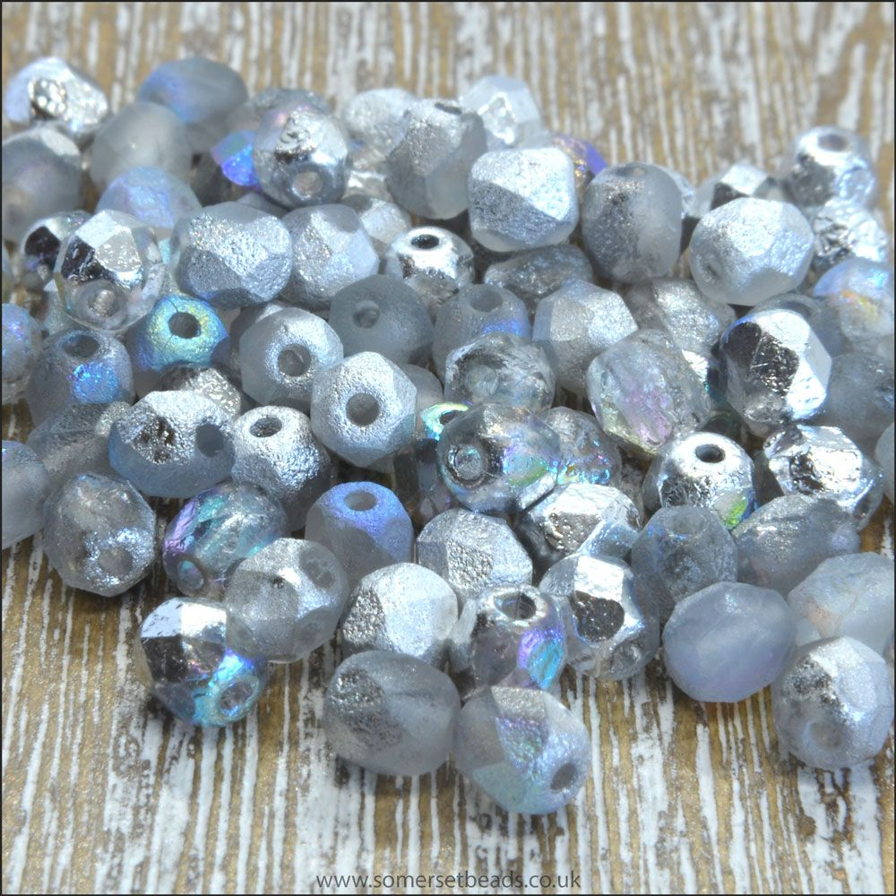 Czech Glass Faceted Fire Polished Beads 4mm Etched Crystal Silver Rainbow