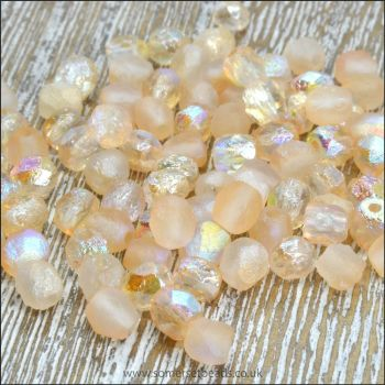 Czech Glass Faceted Fire Polished Beads 4mm Etched Crystal Yellow Rainbow