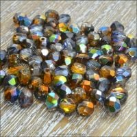 Czech Glass Faceted Fire Polished Beads 4mm Crystal Magic Copper