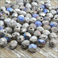 Czech Glass Faceted Fire Polished Beads 4mm Etched Crystal Glittery Argentic