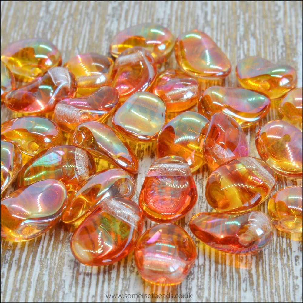 Czech Glass Petal Beads Crystal Apricot Medium 8mm x 6mm Pk 50