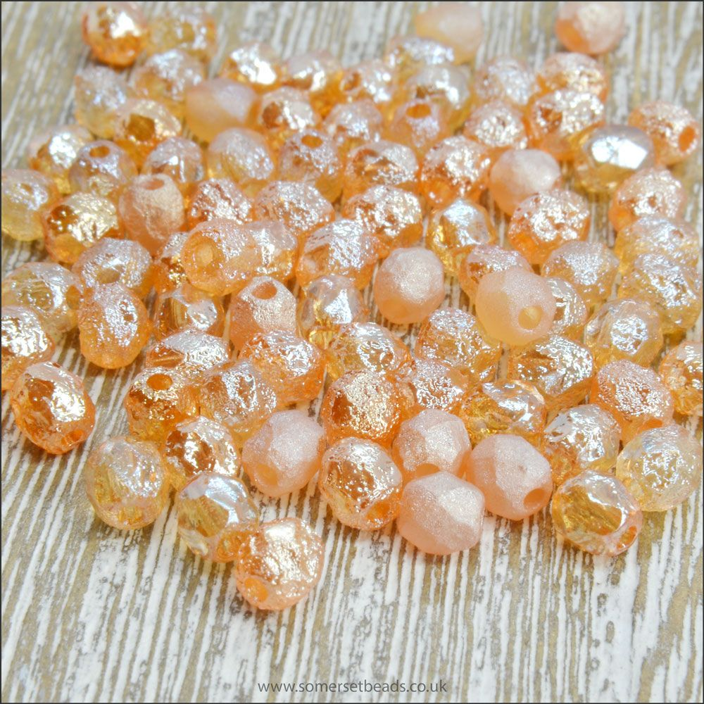 Czech Glass Faceted Fire Polished Beads 4mm Etched Crystal Celsian