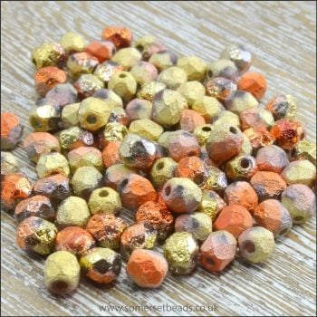 Czech Glass Faceted Fire Polished Beads 4mm Etched California Gold Rush